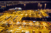 Aerial View Of Container Shipping At Night, Long Beach, California, USA
