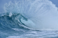 Big Dramatic Wave In The Pacific Ocean At Oahu, Hawaii, USA