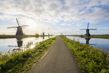 Dike Path With Windmills, Kinderdijk, South Holland, Netherlands