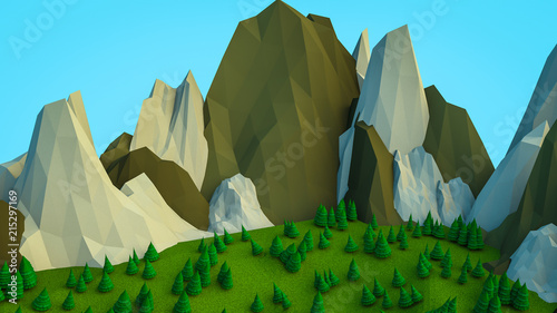 low polygonal Christmas trees and mountains. Landscape. Computer graphics