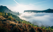 Early Morning Mists Amongst The Mountains And Valleys Of The Verdon Gorge, France