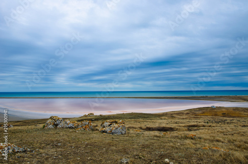 Poster Molens Pink salted lake in Crimea