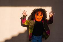 Scary Halloween Pumpkin Over S...