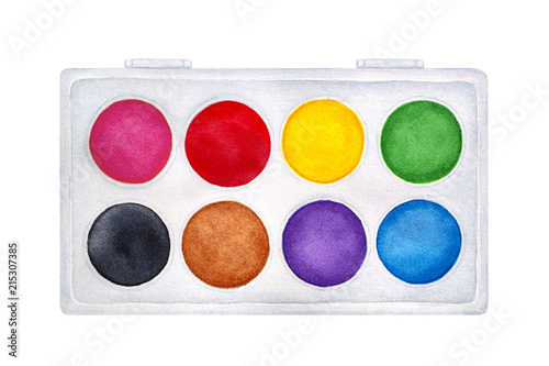 Fotomural Illustration of cute bright Watercolour Paint Set, eight vibrant classic colours in clean new square box