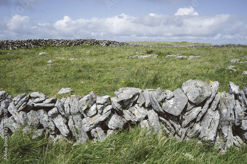 Footpaths and stone walls along the Burren Way, County Clare, Ireland
