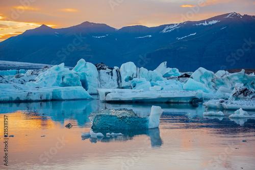 Poster Glaciers Icebergs look like a duck in Jokulsarlon glacier lagoon. Vatnajokull National Park, Iceland Summer.