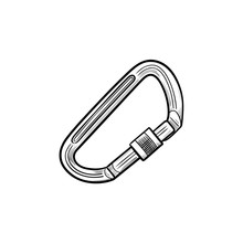 Safety Mountain Climbing Carabiner Hand Drawn Outline Doodle Icon. Climbing Equipment, Mountain Safety Concept. Vector Sketch Illustration For Print, Web, Mobile And Infographics On White Background.