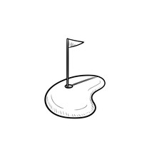 Golf Hole And Flag Hand Drawn Outline Doodle Icon. Recreation, Leisure Activity, Golf Club And Games Concept. Vector Sketch Illustration For Print, Web, Mobile And Infographics On White Background.