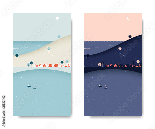Sea view scenery landscape, small village with mountain and sea view, day and night time lapse, postcard template Fotobehang