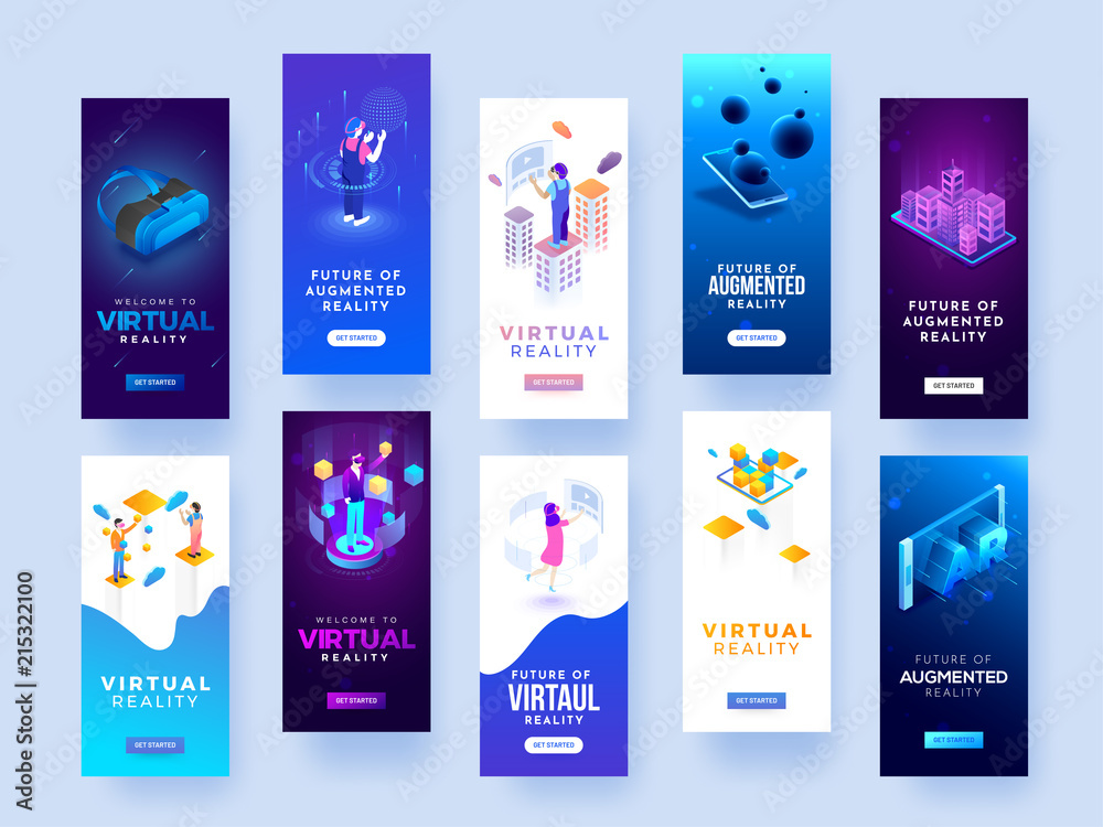 Fototapety, obrazy: Set of splash screen mockups for virtual or augmented reality concept.