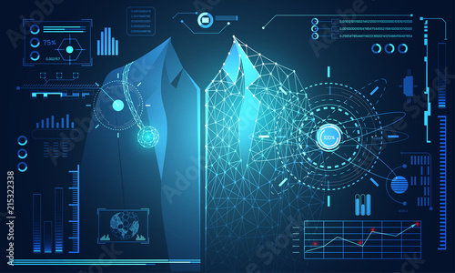 Abstract Technology Science Concept Human Data Health Digital Hud Interface Elements Of Medicine Analysis Doctor