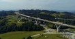 Aerial drone view on highway under construction. Construction of the viaduct on the national road number 7 in Poland