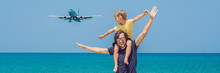 Father And Son Have Fun On The Beach Watching The Landing Planes. Traveling On An Airplane With Children Concept BANNER, Long Format