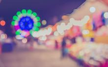 Blur Theme Park On Night Time.