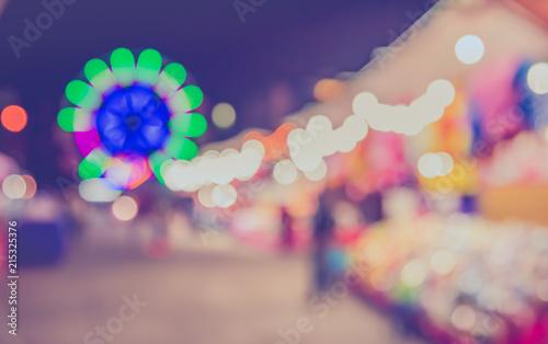 Foto op Plexiglas Amusementspark blur theme park on night time.