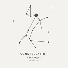 The Constellation Of Canis Major. The Great Dog - Linear Icon. Vector Illustration Of The Concept Of Astronomy.
