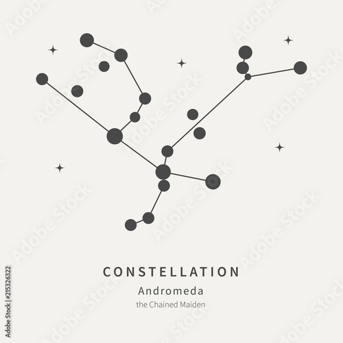 The Constellation Of Andromeda. The Chained Maiden - linear icon. Vector illustration of the concept of astronomy.