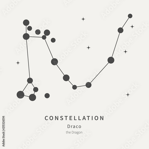 The Constellation Of Draco  The Dragon - linear icon  Vector