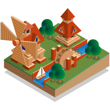 Mills. Isometric. Vector Illus...