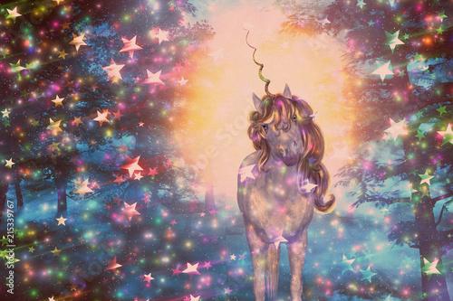 Obrazy Jednorożec   jednorozec-w-gwiazdzistym-lesie