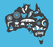 Australia Icon Set - Blue, White & Black - Vector Illustration