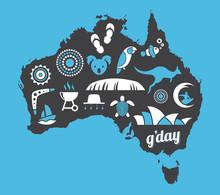Australia Icon Set - Blue, Whi...