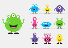 Cool, Fun, Cute Creature / Alien - Blue, Green, Pink, Yellow & Black - Vector Illustration