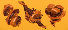 Chocolate And Caramel Splashes, 3d Realistic Vector