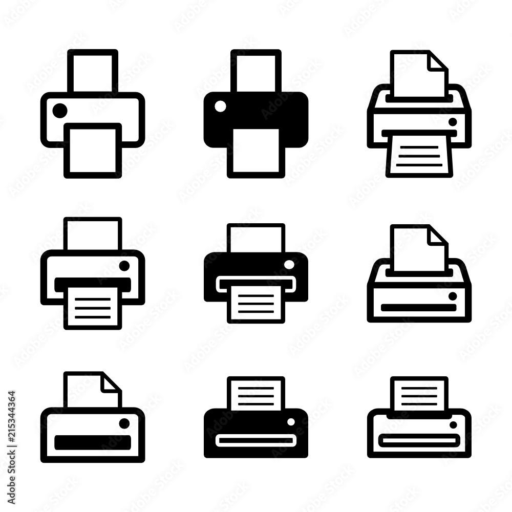 Fototapety, obrazy: zestaw drukarek ikona