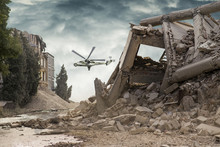 View On A Collapsed Concrete Industrial Building With An Attack Helicopter Mi24 In Dark Dramatic Sky Above