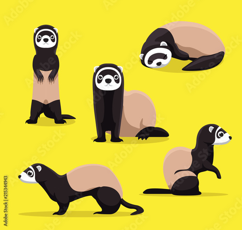 Fényképezés  Cute Ferret Poses Cartoon Vector Illustration