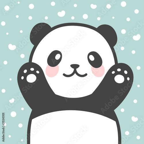 Fototapeta premium Panda vector print, baby shower card. cześć panda z ilustracją kreskówki balonu, kartką z życzeniami, kartkami dla dzieci na plakat lub baner urodzinowy, zaproszenie z kreskówek