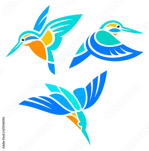 Leinwand Poster Stylized Birds in flight - Kingfishers