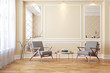 Classic beige modern interior empty room with lounge armchairs, table and mirrors.