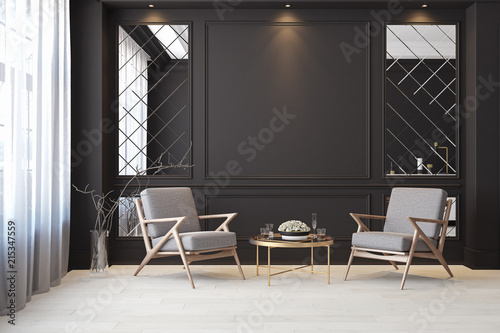 Fototapeta Classic black modern interior empty room with lounge armchairs, table and mirrors. obraz