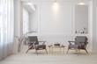 Leinwandbild Motiv Classic white modern interior empty room with lounge armchairs, table and mirrors.