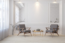 Classic White Modern Interior Empty Room With Lounge Armchairs, Table And Mirrors.
