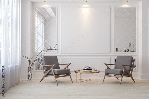 Obraz Classic white modern interior empty room with lounge armchairs, table and mirrors. - fototapety do salonu