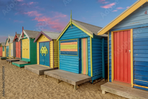 Poster Oceania Colourful bathing boxes at Brighton beach in Melbourne, Australia