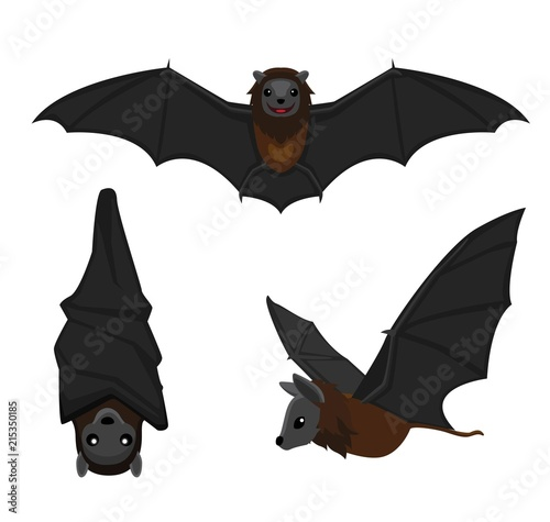 Cute Bat Poses Cartoon Vector Illustration Fototapet