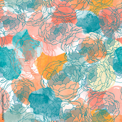 Fototapeta Abstract painting universal freehand watercolor seamless pattern with peonies. Graphic design for background, card, banner, poster, cover, invitation, header or brochure. Hand drawn vector texture obraz na płótnie