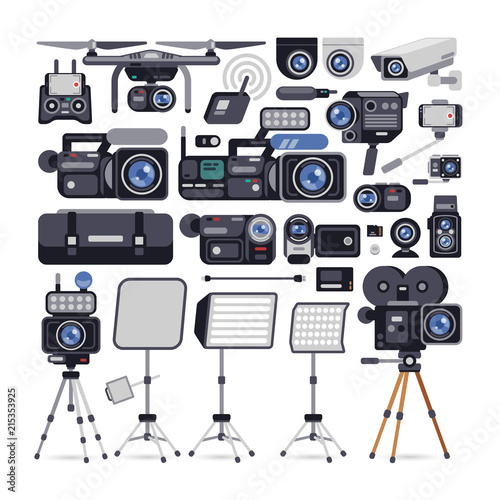 Videographer Equipment Icons in Flat Style