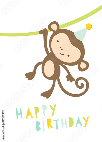 Happy Birthday Card With Cute Monkey In A Party Hat