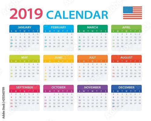 American Calendar 2019 Calendar 2019   American Version   Buy this stock vector and