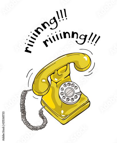 Foto op Canvas Schepselen Vintage yellow telephone hand drawn illustration