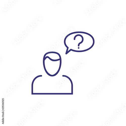 Dilemma line icon  Man, client, speech bubble, question mark