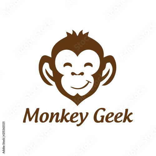 Fototapeta premium Smile Monkey Geek Vector Logo Design
