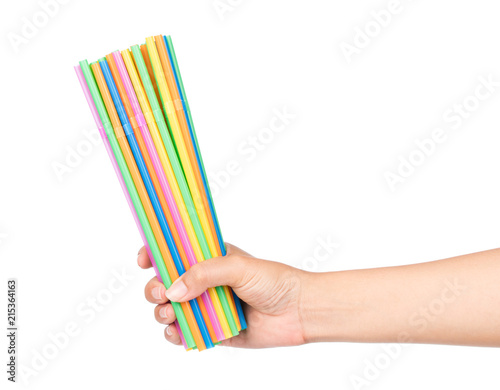 Fotografia hand holding drinking straw isolated on white background.