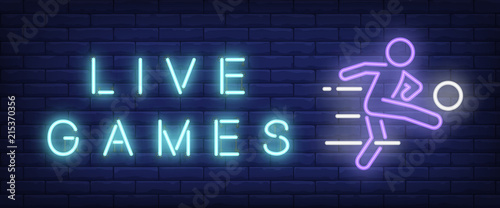Fotografija  Live games neon text with football player kicking ball