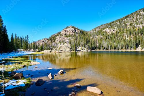 Fotobehang Meer / Vijver Lone Pine Lake, Rocky Mountains, Colorado, USA.